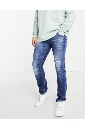jack & jones Men Slim - Intelligence Glenn slim jeans with rips in dark