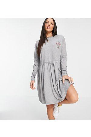 Noisy May Collegiate motif jersey smock dress in marl