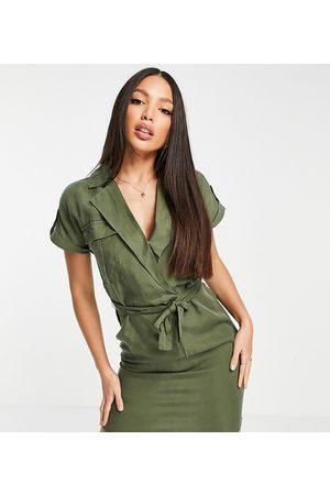 Noisy May Tall Women Casual Dresses - Tie waist shirt dress in khaki