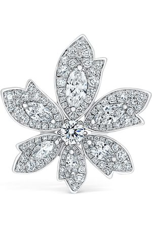 David Morris 18kt white gold diamond Palm one flower ring