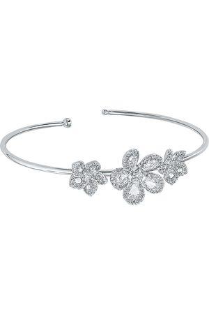 David Morris 18kt white gold diamond Miss Daisy Triple Flower bracelet