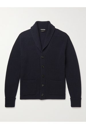 Tom Ford Men Cardigans - Shawl-Collar Ribbed Cashmere Cardigan