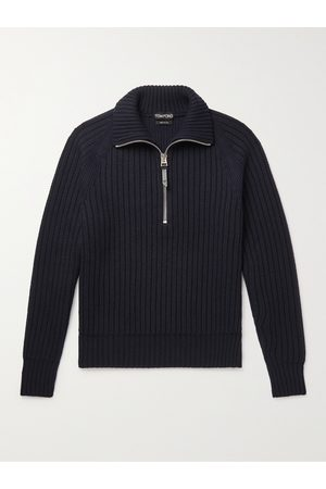 TOM FORD Men Jumpers - Slim-Fit Ribbed Cashmere and Wool-Blend Half-Zip Sweater