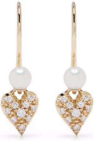 Mizuki 14kt yellow freshwater pearl and diamond heart earrings