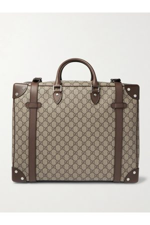 GUCCI Men Luggage - Leather-Trimmed Monogrammed Coated-Canvas Suitcase