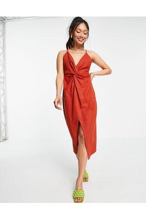 ASOS Linen plunge knot front cami midi dress