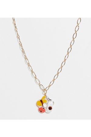 ASOS ASOS DESIGN Curve necklace with trapped flower shape pendant in tone