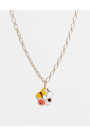 ASOS DESIGN Women Necklaces - Necklace with trapped flower shape pendant in tone