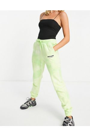 Sixth June Unisex co-ord relaxed logo joggers in lime wash