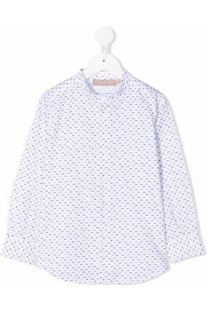 La Stupenderia Band-collar bow-print shirt