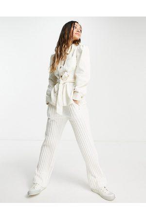 Only Women Denim Jackets - Denim shacket with tie waist in ecru