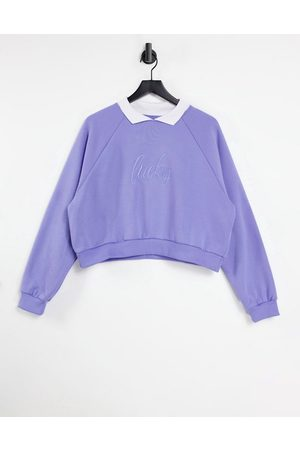Local Heroes Women Sweatshirts - Lucky embroidered relaxed sweatshirt with collar in