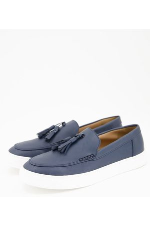 ASOS Men Loafers - Loafers in navy faux leather on white sole