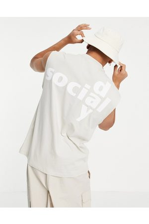 ASOS Day Social Men Camisoles - ASOS Daysocial oversized vest with back logo print in pale