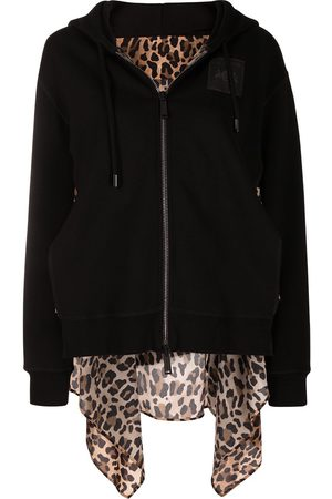 Dsquared2 Leopard-panel layered hoodie