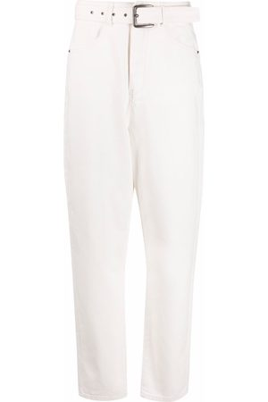 12 STOREEZ Loose belt-waist tapered jeans