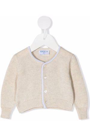 SIOLA Purl-knit piped-trim cardigan