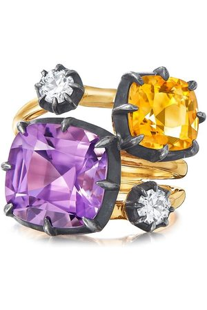 FRED LEIGHTON 18kt yellow and silver Collet amethyst, citrine and diamond Collet stack ring