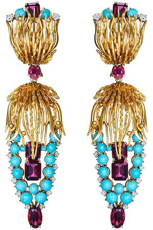 FRED LEIGHTON 18kt yellow turquoise, garnet and diamond pendant earrings
