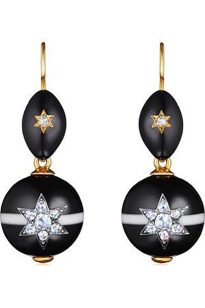 FRED LEIGHTON 14kt yellow diamond agate bead motif pendant earrings