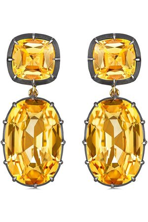 FRED LEIGHTON 18kt yellow gold cushion citrine double pendant earrings