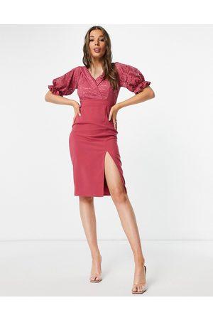 Little Mistress Women Midi Dresses - Ruffle lace midi dress in cosmetic rose