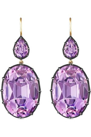 FRED LEIGHTON 18kt yellow and silver Collect double drop amethyst earrings