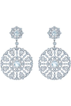 KWIAT 18kt white gold diamond Splendor circle embroidery chandelier earrings