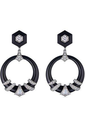 FRED LEIGHTON 18kt diamond jade coiled dooorknocker earrings