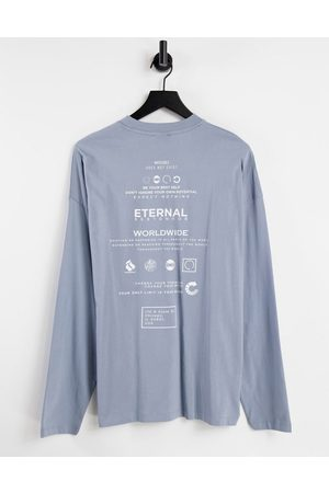 ASOS DESIGN Oversized long sleeve t-shirt in organic cotton with text back print