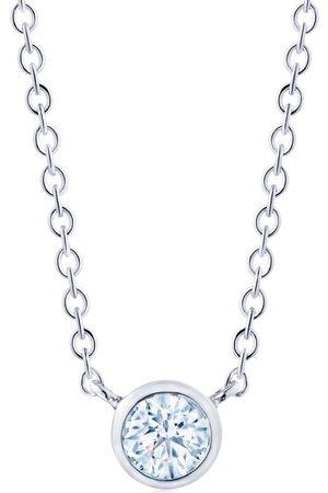 KWIAT 18kt white gold round diamond bezel set pendant necklace