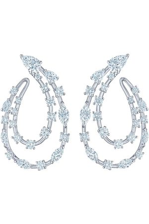 KWIAT 18kt white gold diamond Starry Night two-row sideways hoop earrings