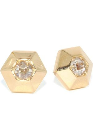 FRED LEIGHTON 18kt yellow diamond hexagonal stud earrings