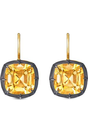 FRED LEIGHTON 18kt yellow cushion citrine collet drop earrings