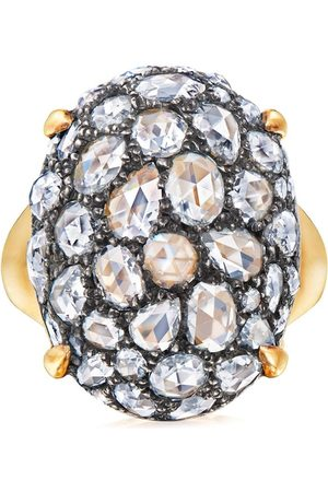 FRED LEIGHTON 18kt yellow rose cut diamond oval bombe cocktail ring