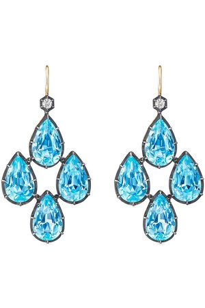 FRED LEIGHTON Pear shape topaz diamond chandelier earrings