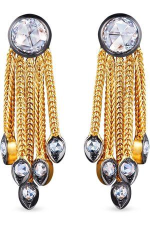 FRED LEIGHTON 18kt yellow diamond foxtail chain fringe earrings
