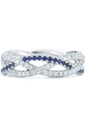 KWIAT 18kt white gold diamond sapphire twist three-strand ring
