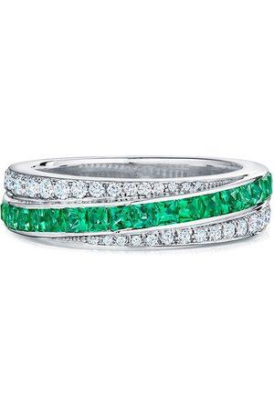 KWIAT 18kt white gold Splendor diamond and emerald stripe partway band