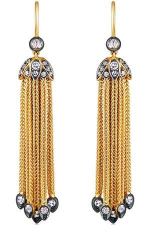 FRED LEIGHTON 18kt yellow Foxtail chain fringe diamond tassel pendant earrings