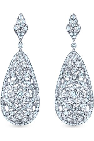 KWIAT 18kt white gold diamond Splendor Puffy teardrop pendant earrings