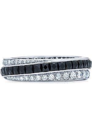 FRED LEIGHTON 18kt white gold onyx and diamond diagonal stripe eternity band ring