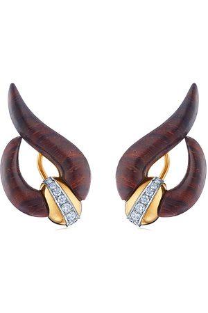 FRED LEIGHTON 18kt yellow diamond Cocobolo wood wave earrings