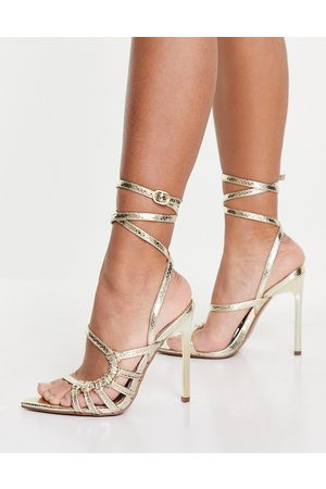 ASOS DESIGN Newton pointed insole high heeled sandals in