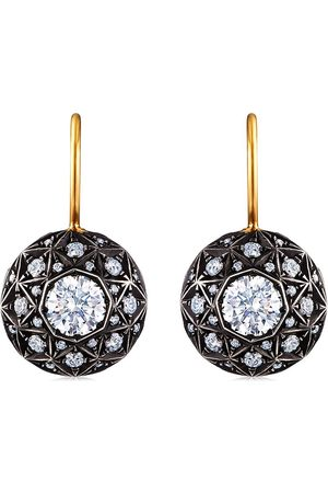 FRED LEIGHTON 18kt yellow and silver diamond facet motif drop earrings