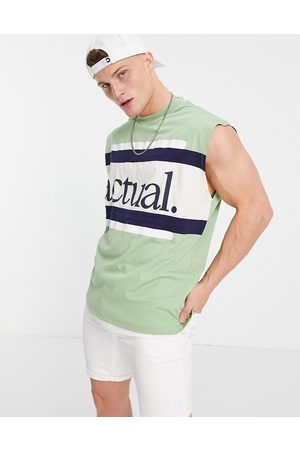 ASOS Actual Oversized vest with horizontal stripe detail and logo print in