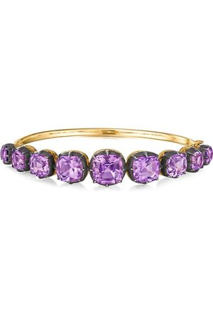 FRED LEIGHTON 18kt yellow cushion amethyst collect bangle