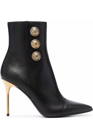 Balmain Button-embellished stiletto booties