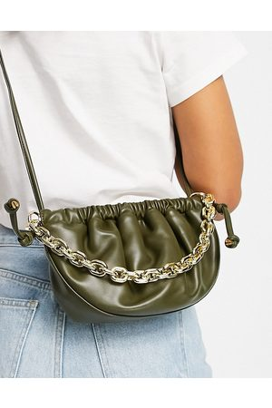 EGO Half moon pouch cross body bag with chain in olive