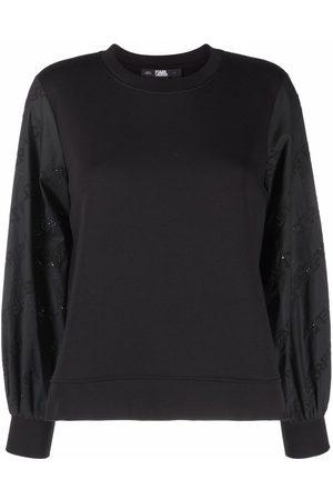 Karl Lagerfeld Logo poplin-sleeve sweatshirt